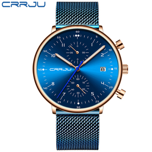 Image 2 - Relogio masculino CRRJU Top marka luksusowy mężczyzna zegarek ze stali nierdzewnej męski wodoodporny kalendarz chronograf zegarki kwarcowe