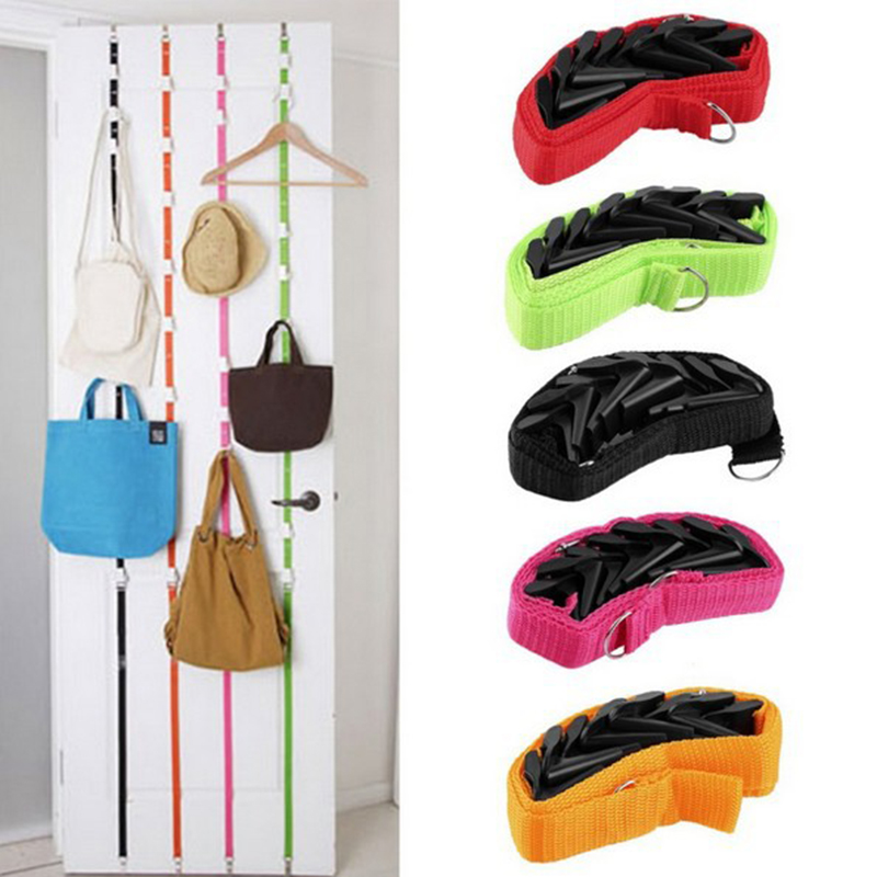 1PCS Popular Adjustable Belt Door Hanger Hat Bag Coat Coat Hanger 8 Hooks For Convenient Space Saving