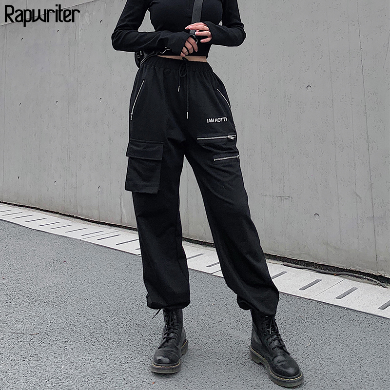 Rapwriter Casual Letter Print Drawstring Elastic High Waist Pants Women 2020 Streetwear Zipper Pocket Loose Pencil Trouser Femme
