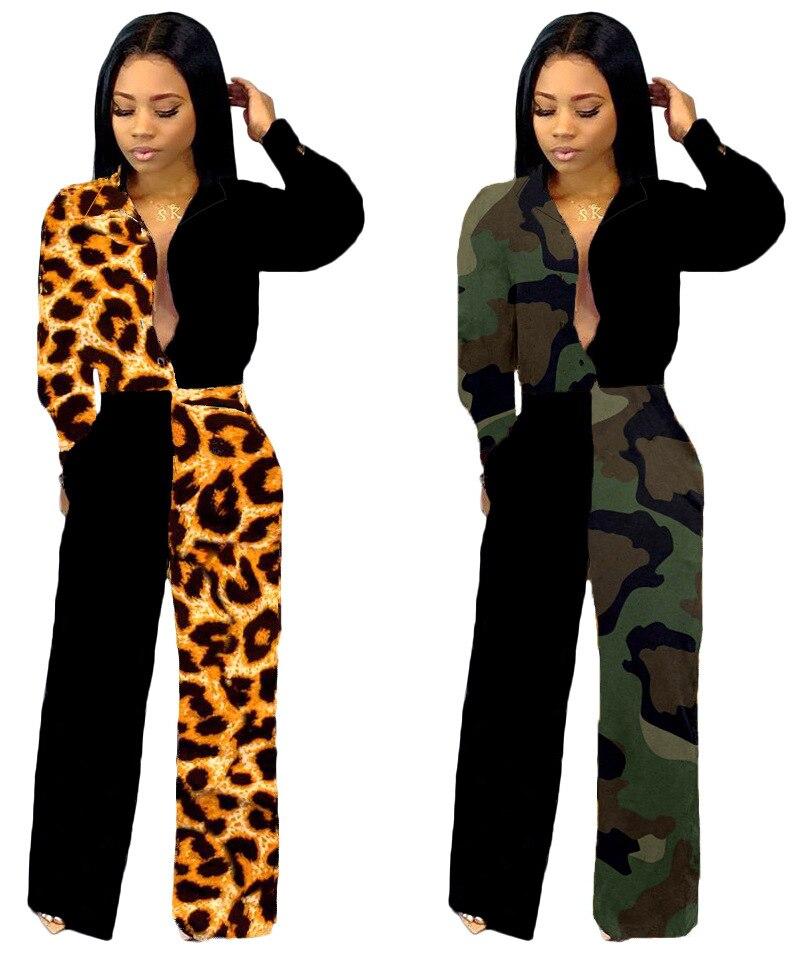 New Sexy Leopard Patchwork Women Jumpsuits Pants
