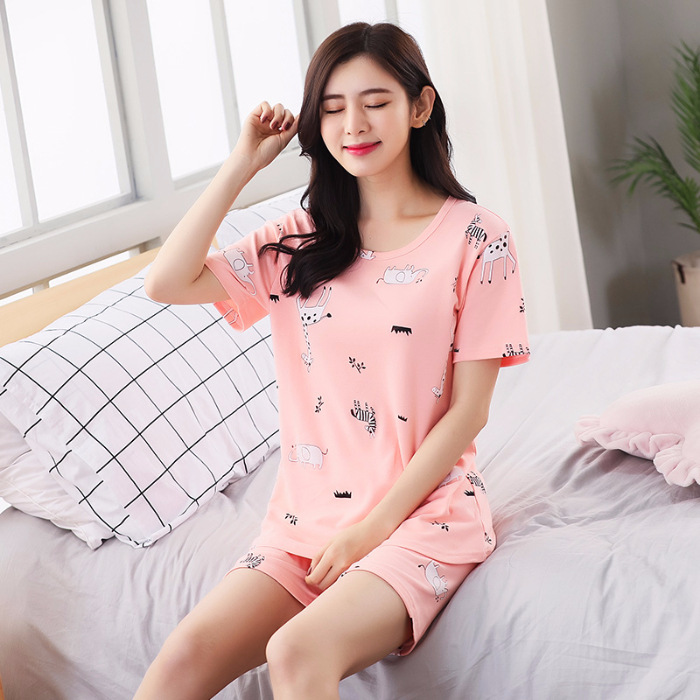 Summer Pajamas Women's Thin Breathable Cool Cute Cartoon GIRL'S Pajamas Large Size-Outer Wear Giraffe Short Sleeve