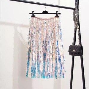 Image 4 - Marwin 2019 New Đến Mùa Thu Đông Kim Sa Lấp Lánh Váy Thời Trang Chiếu Trúc Hạt Tới Đầu Gối Đế Quốc Gợi Cảm Câu Lạc Bộ Giáng Sinh Váy