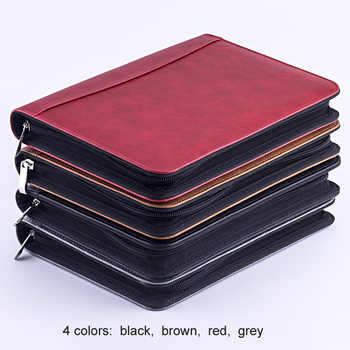A5 leather loose-leaf notebook agenda journal planner organizer spring binder zipper padfolio breifcase portfolio A5 folder - SALE ITEM All Category