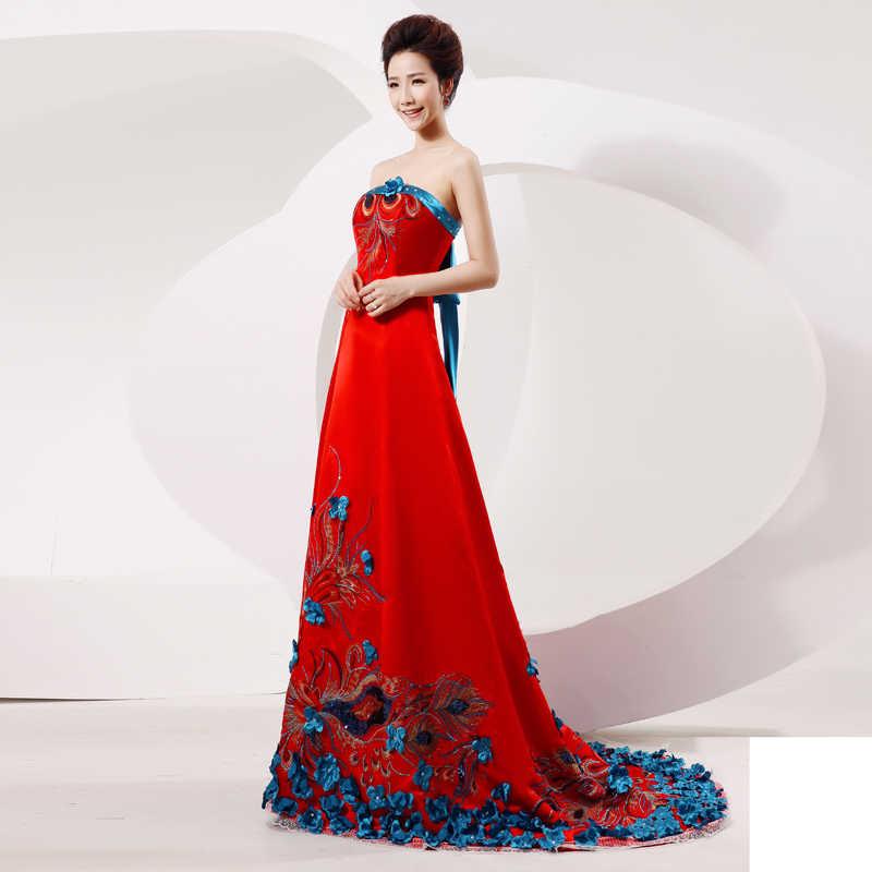 Çin cheongsam elbise zarif nakış çiçek Qipao seksi tüp üst firar elbise kadınlar çin tarzı Vintage Cheongsam