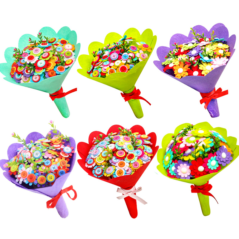 Children DIY Handmade Art Fake Flowers Bouquet Wedding Flowers Home Decoration Puzzle Toy Student Send Teacher's Day Mother Gift