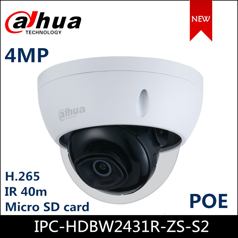 Dahua 4MP IP Camera WDR IR Dome Network Camera IPC-HDBW2431R-ZS-S2 Support Micro SD Card POE Starlight H.265 Camera