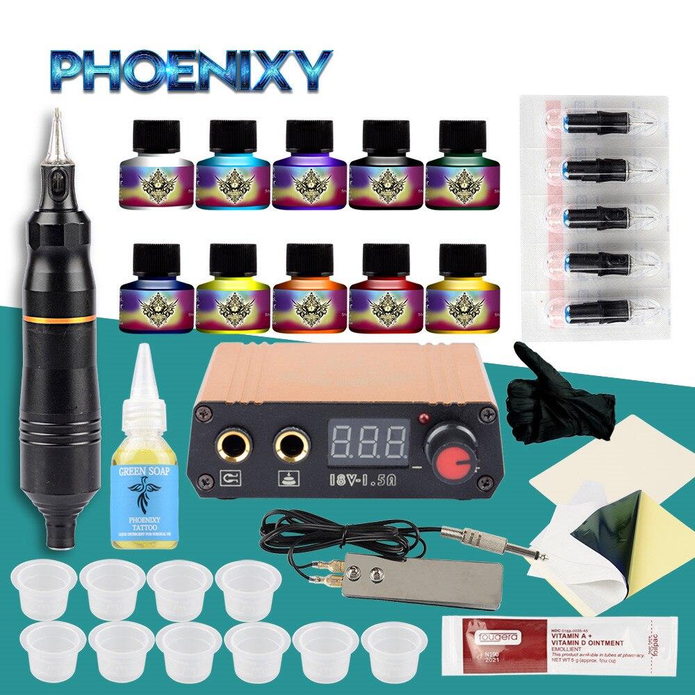 Professional Tattoo Pen Kit Rotary Machine Set LCD Power Supply Design Pigment Body Art Permanent Makeup Rotary Pen Tattoo Set