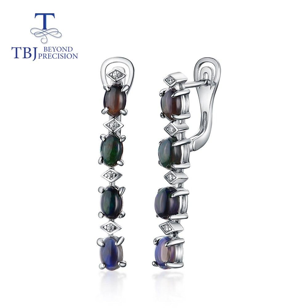 Earring Fine-Jewelry Moonstone Black Opal 925-Sterling-Silver White Natural Women Oval