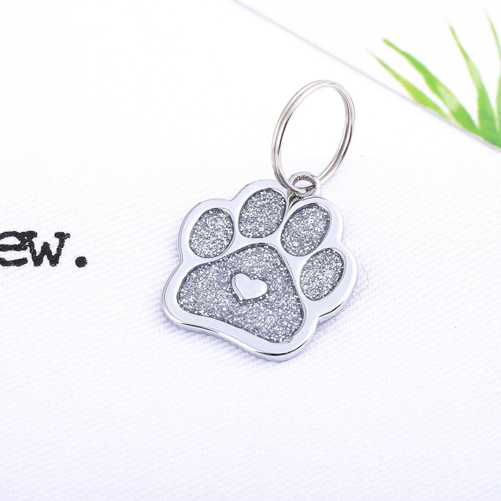 New Style Glitter Powder Foot Type Pet Decorations Dog Tag Pet Supplies-Laser Anti-loss Tag