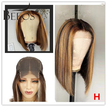 Beeos 4×4 Closure  Wigs 150% Lace Wig Short Bob Highlight Colored Brazilian Human Hair Wigs Remy Pre Plucked With Baby Hair