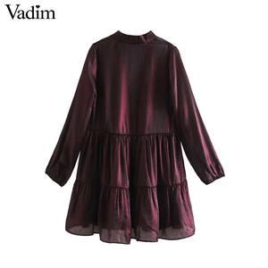 Image 2 - Vadim women elegant wine red mini dress bow tie collar long sleeve straight preppy style cute sweet dresses vestidso QD171
