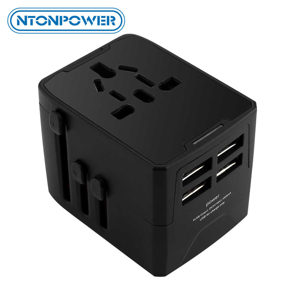 NTONPOWER Universal Travel Adapter 4 USB Power Adapter Charger International อะแดปเตอร์ All-in-one ซ็อกเก็ตสำหรับ EU/ US/UK/AU/JP