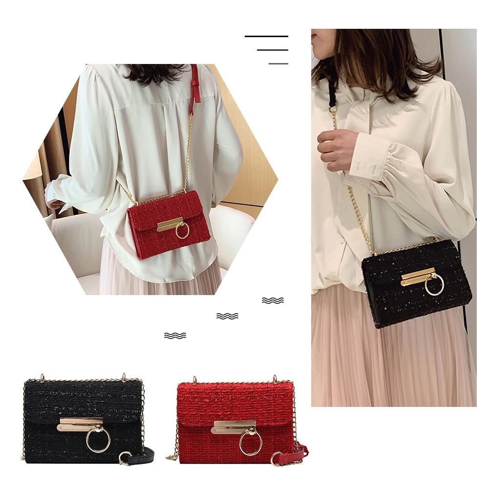 Fashion Women's Bags Retro Crossbody Bags for Women 2020 Ladies Casual Flap Woolen Small Square Chain Shoulder Messenger Bag