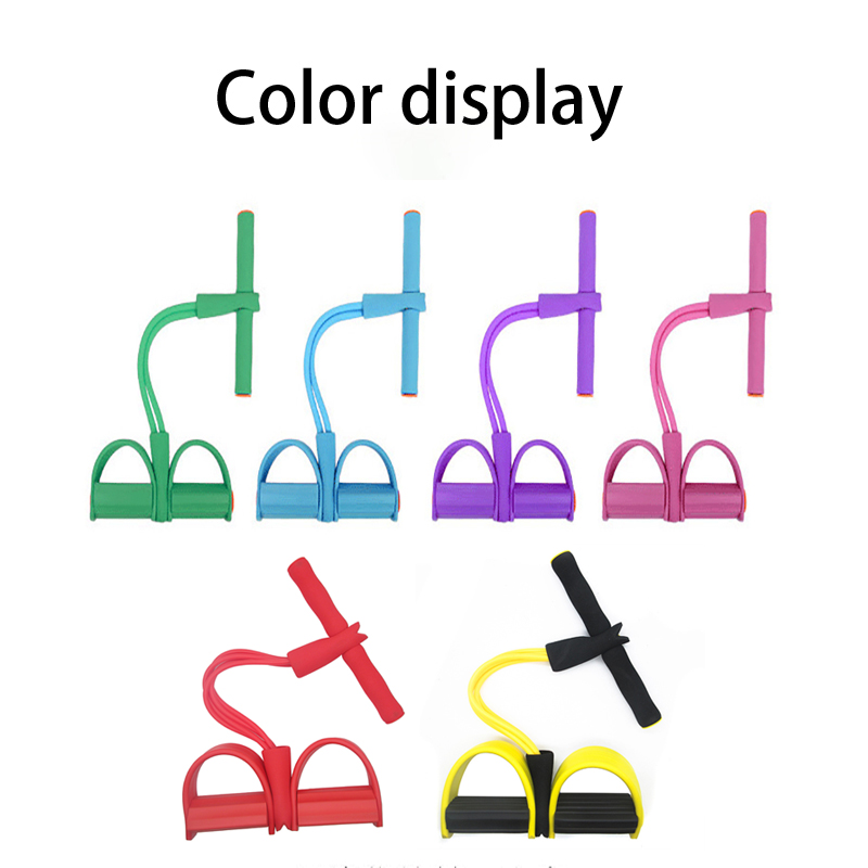 4 Tubes Resistance Bands Fitness Elastic Sit Up Pull Rope Exerciser Rower Belly Elastic Bands Home Gym Sports Training Equipment 3