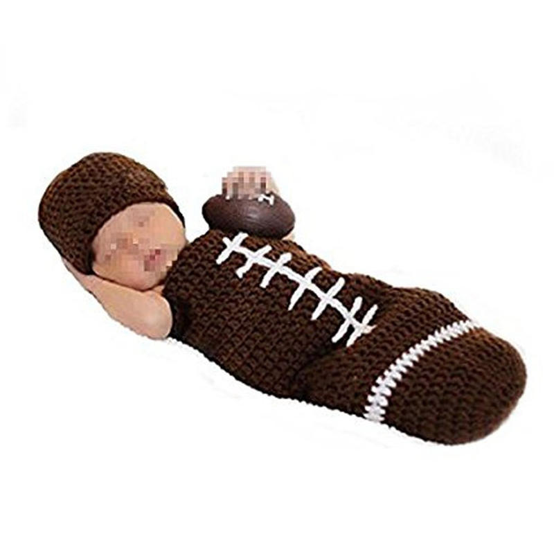 Newborn Photography Props Outfits-Baby Boy/Girl Knitted Hat Pants Cartoon Animal Costume Set Football