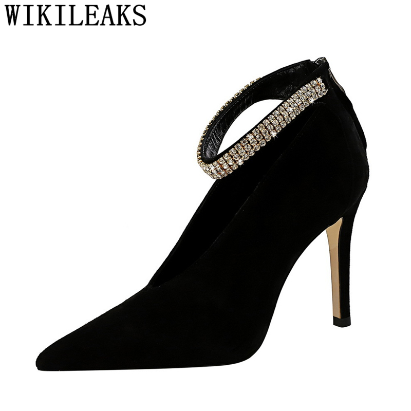 rhinestone heels mary jane shoes wedding shoes pumps women shoes luxury heels black heels fashion zapatos de mujer tacón scarpe image