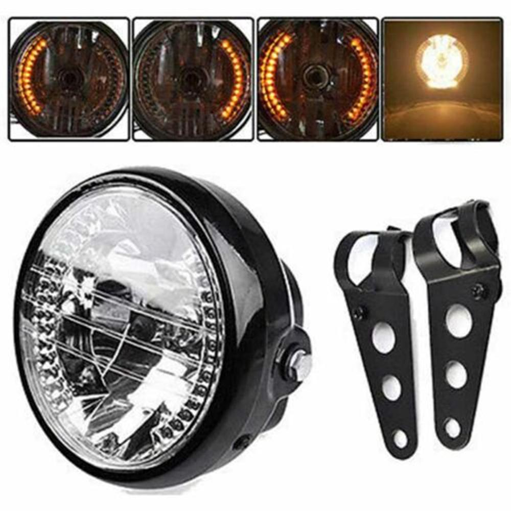 Motorcycle Modified Retro Headlights 7 Inch Angel Ring Headlights Far Near Light Steering Function Headlights