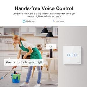 Image 3 - Sonoff T2 Uk T3 Black Wifi Smart Switch 1 2 3 Bende Slimme Schakelaar Glas Panel Wifi Touch Schakelaars werken Met Alexa Google Thuis
