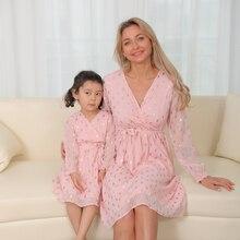 Весенние платья для мамы и дочки, Семейный комплект одежды с пайетками для мамы и ребенка, одежда для мамы и дочки, платье с длинным рукавом и...