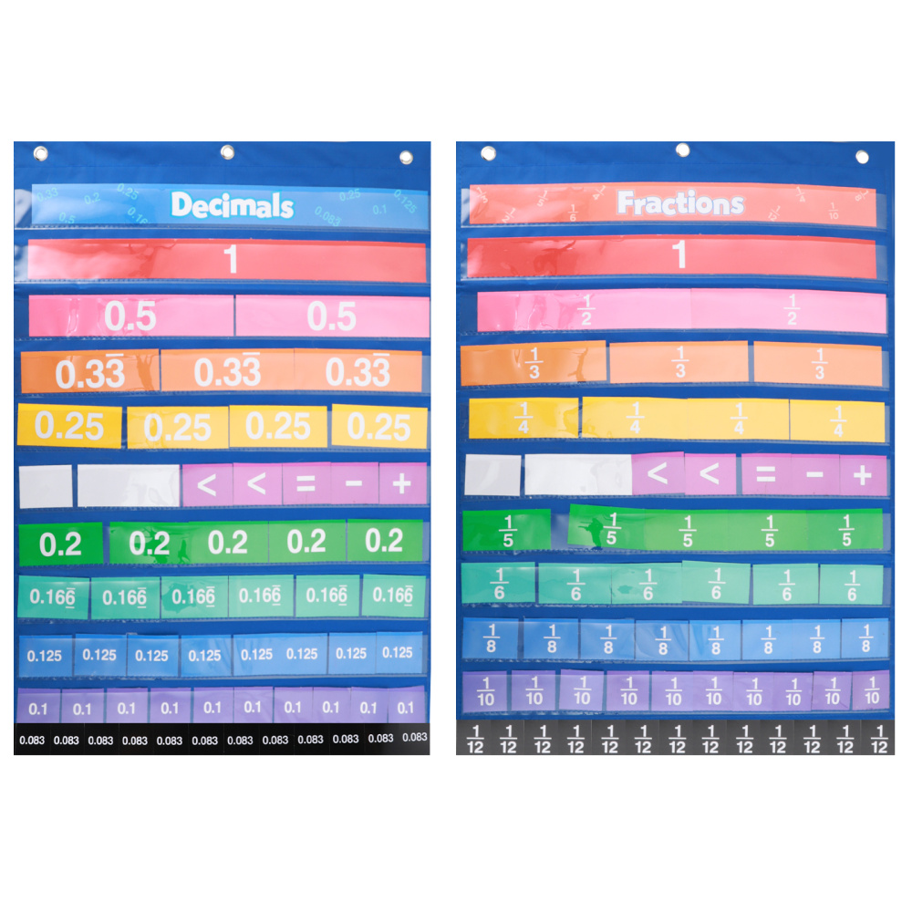 1 set of Numbers Cards Educational Mathematics Learning Fractions Decimals