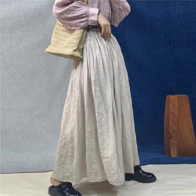 Johnature 2020 New Vintage Linen Plus Size Solid Color Women Skirts Summer Casual All Match High Waist 3 Colors Female Skirts