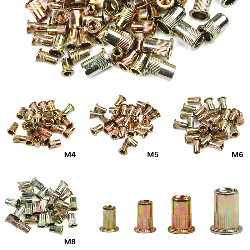 100PCS /set Mixed M4 M5 M6 M8 Zinc Plated Carbon Steel Rivet Nut Flat Head Rivet Insert  Riveting NutsThreaded Steel Rivnut Set