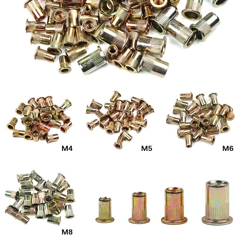 100PCS /set Mixed M4 M5 M6 M8 Zinc Plated Carbon Steel Rivet Nut Flat Head Rivet Insert  Riveting NutsThreaded Steel Rivnut Set