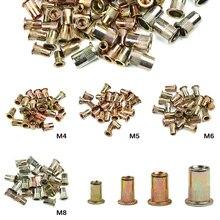100 PCS/set Mixed M4 M5 M6 M8 Verzinkt Carbon Stahl Niet Mutter Flach Kopf Niet Einsatz Nieten nutsThreaded Stahl Rivnut Set