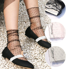 Sexy Lace Mesh Fishnet Socks Mixed Fiber Transparent Stretch Elasticity Ankle Net Yarn Thin Women Cool Socks Black Wave Point active net yarn wave point pattern high waisted leggings