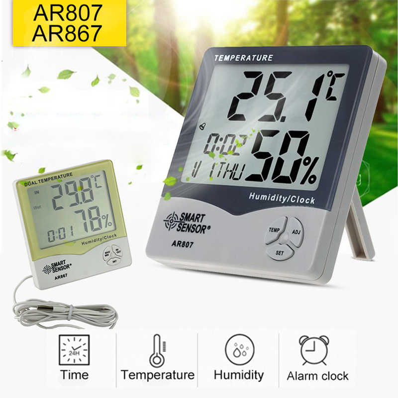 Urijk AR807 Digital Hygrometer Thermometer termometer Humidity Temperature Meter tester Weather Station Calendar & Clock Alarm