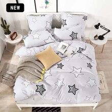 T ALL طقم سرير القطن الخالص لون نقي A/B الوجهين نمط الكرتون البساطة غطاء سرير غطاء لحاف المخدة 4 7 قطعة