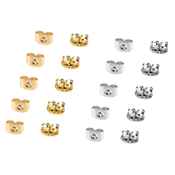 100pcs/lot 316L Stainless Steel Ear Nut Gold Color 6x4.5mm Hypo-allergenic Earring Backs Stopper for DIY Earring Jewelry Finding