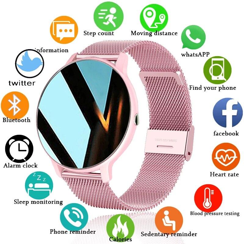 2021 חדש נשים חכם שעון בזמן אמת מזג אוויר תחזית פעילות Tracker קצב לב ספורט גבירותיי חכם שעון גברים עבור אנדרואיד IOS