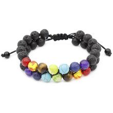 Double-deck Seven Colors Black Lava Stone Bead Bracelets for Men Women Charm Adjustable Hand Jewelry Gift DropShipping