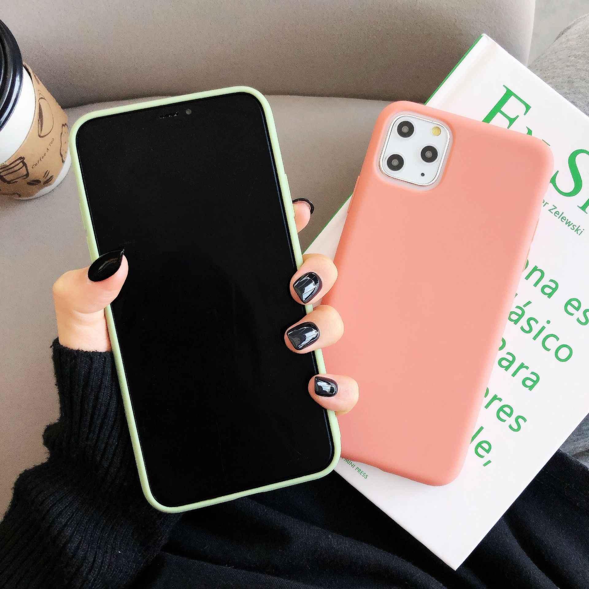 สบายง่ายสีทึบสำหรับ iPhone 11 Pro XR X XS MAX 7 8 PLUS 6 6 S กรณี Matte ULTRA-Slim TPU Funda Capa