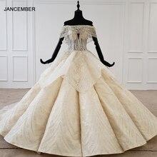 HTL1106 プリーツ夜会服のウェディングドレス高級ボートネック床の長さプラスサイズ曲線形状ローブマリアージュ en パール