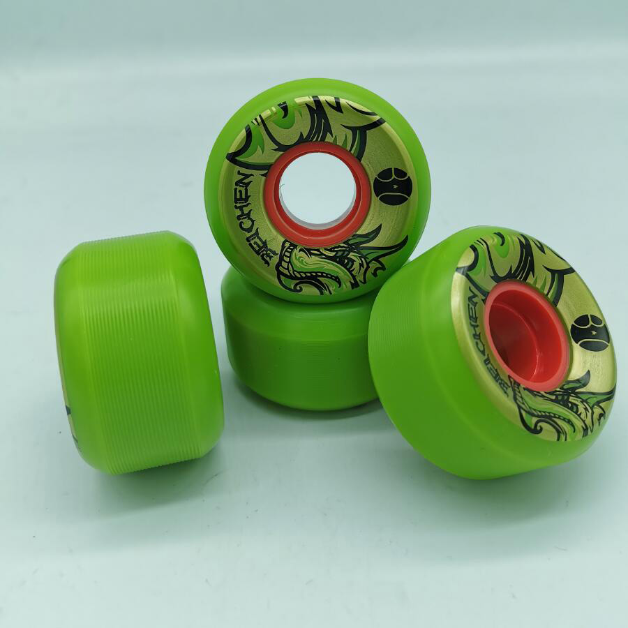 Good Quality Green Conical Shape Skateboard Wheels 56mm Skate Wheel 80% Rebound 56*33mm 78AA Wear-resisting Skating Wheels