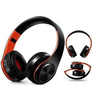 Image 1 - 새로운 휴대용 무선 헤드폰 블루투스 하이파이 스테레오 접이식 헤드셋 오디오 Mp3 조정 가능한 이어폰, 음악 용 마이크 포함
