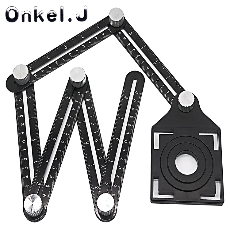 Aluminium Alloy Six Folding Ruler Tile Hole Locator Masonry Paving Tiles Glass Universal WANXIANG Punched Useful Product
