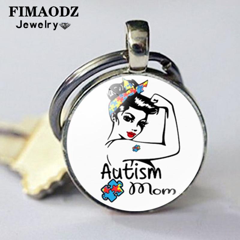 Fimaodz autismo mãe chaveiro arco-íris quebra-cabeça autismo consciência símbolo de vidro cúpula metal pingente chaveiro esperança chaveiro presente da família