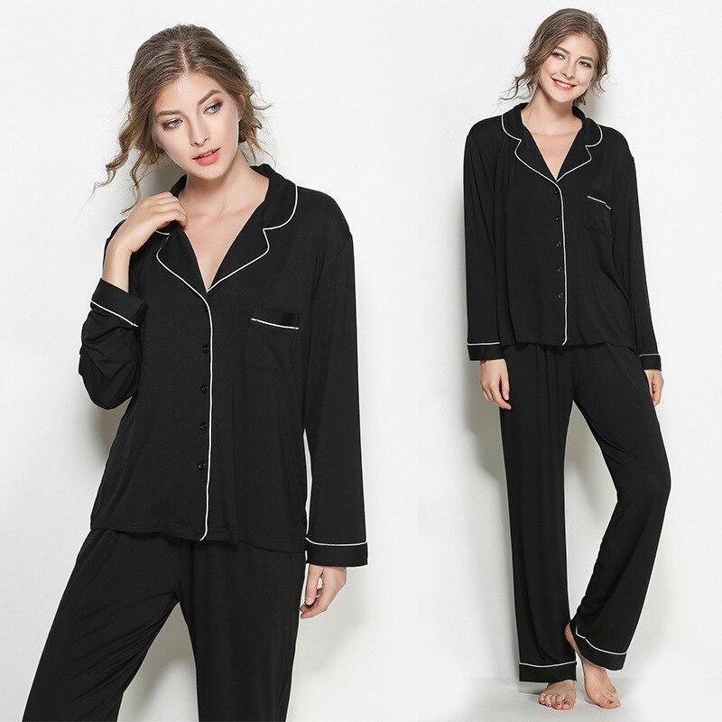 Smmoloa Autumn Winter Women  Modal Pajama Long Sleeves Cotton Pyjamas