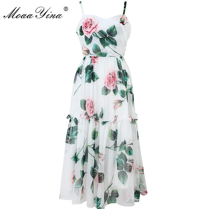 MoaaYina Fashion Designer Dress Summer Women Spaghetti Strap Backless Floral Print Vacation Beach Chiffon Dress