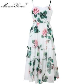MoaaYina Fashion Designer Dress Summer Women Spaghetti strap Backless Floral Print Vacation Beach Chiffon Dress aztec print plunge backless shift dress