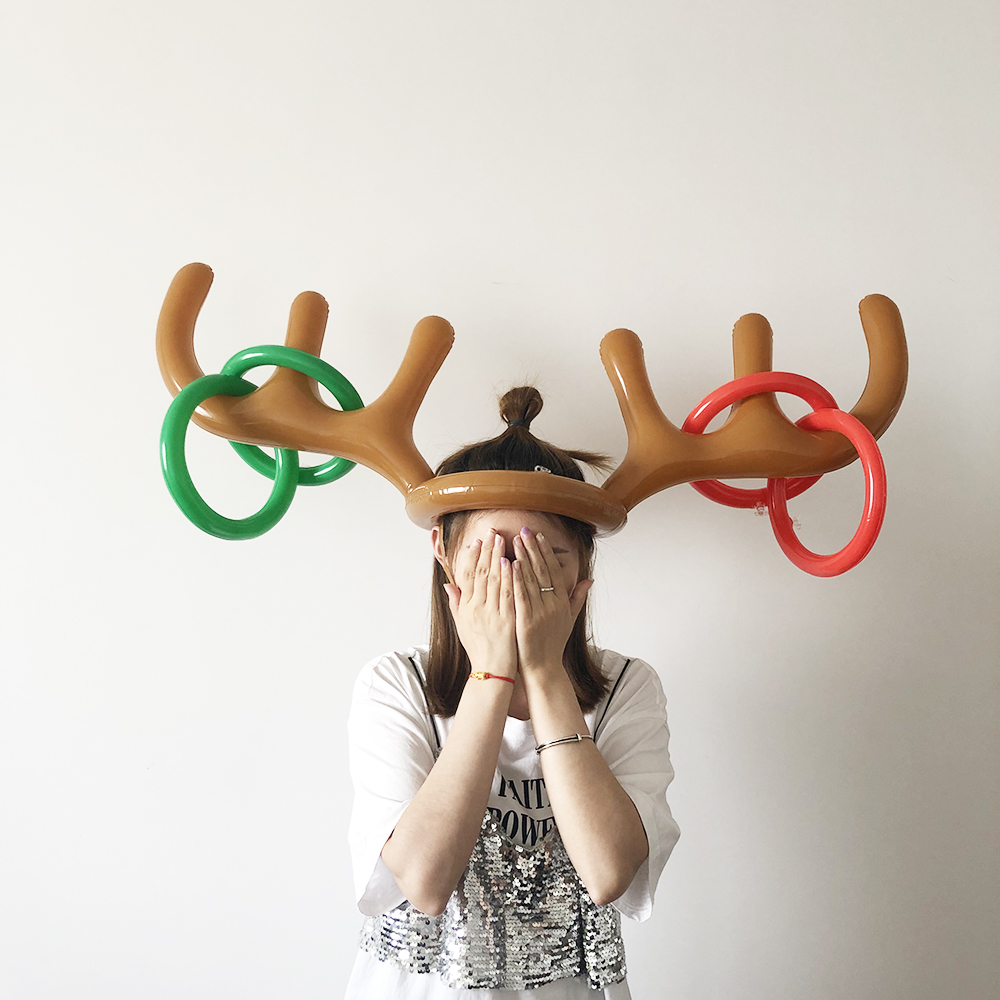 1 Set PVC Inflatable Antlers Shape Toy Christmas Family New Year Party Fun Throw Ring Interactive Game Children Hat Ring Toss