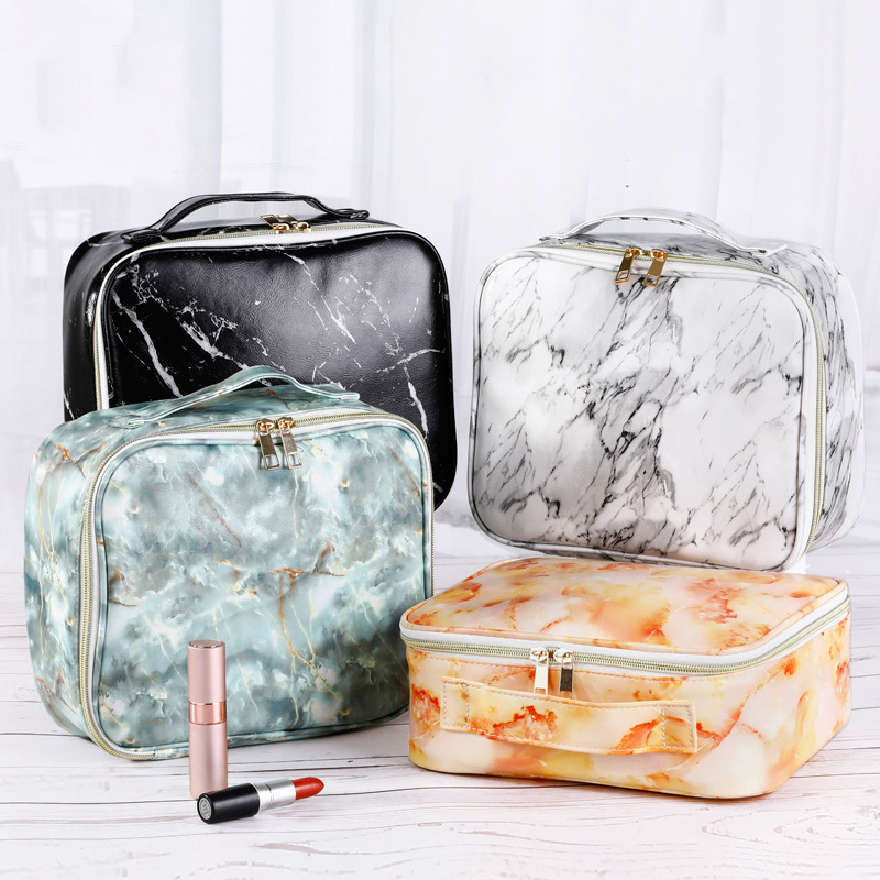 New Marble Pu Cosmetic Bag AB Paragraph Large Capacity Waterproof Portable Storage Toiletry Bags Wholesale Custom