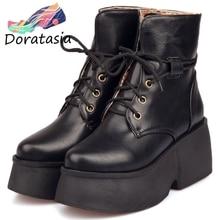 DORATASIA New 33-43 Fashion High Platform Booties Ladies Winter Warm Fur Ankle Boots Women 2019 High Wide Heels Shoes Woman цена и фото