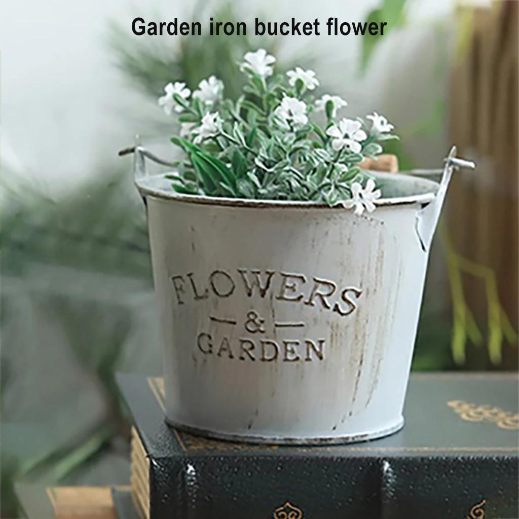 Retro Flower Pot Hanging Balcony Garden Fence Plant Metal Iron Planter Bucket