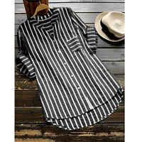Frauen Shirts Streifen Halb Langarm V-ausschnitt Baumwolle Leinen Tasten Bluse Lose Elegante Sommer Herbst Beiläufige Lange Tops Tunika s-5XL