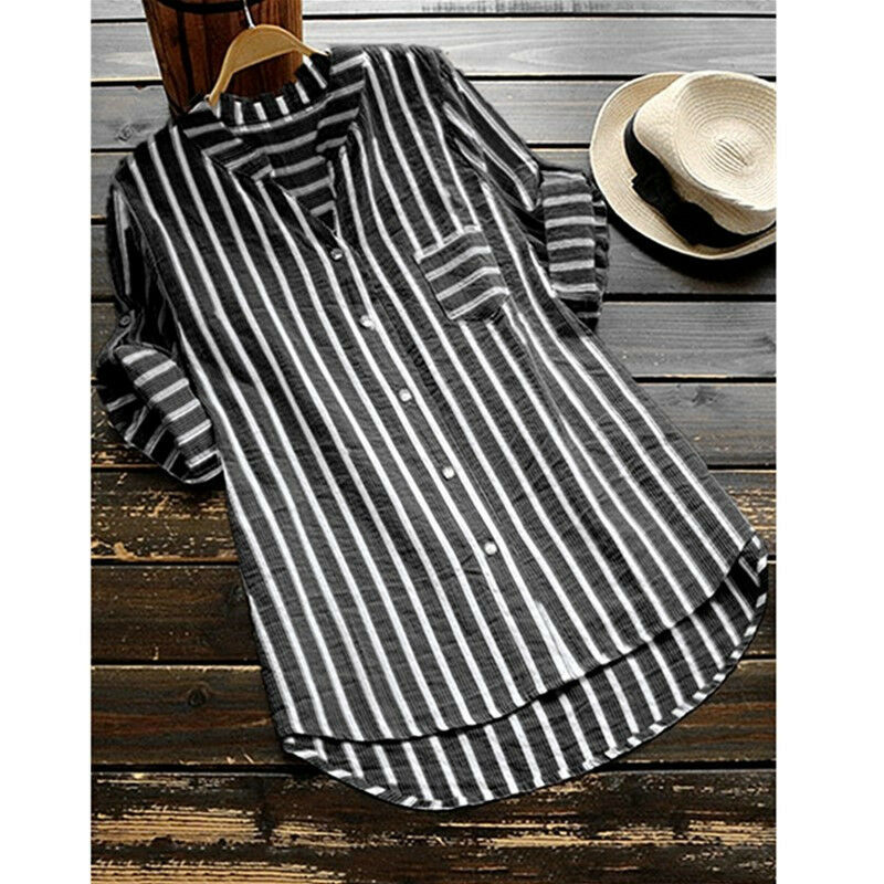 Women Shirts Stripe Half Long Sleeve V Neck Cotton Linen Buttons Blouse Loose Elegant Summer Autumn Casual Long Tops Tunic S-5XL