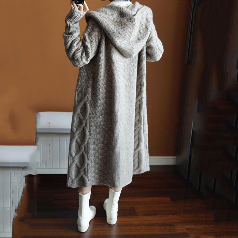 Women Fashion Long Sweater Cardigans Autumn Winter Knitted Coat Korean Chic Thicken Overcoat Female Sweaters Open Stitch Jacket